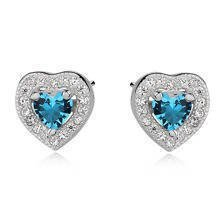 Silver (925) Earrings aquamarine colored zirconia - hearts