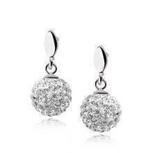 Silver (925) Earrings disco ball 8mm white