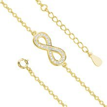 Silver (925) bracelet Infinity with zirconias gold-plated