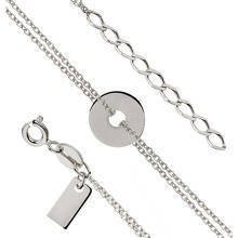 Silver (925) bracelet of celebiries - round pendant with double chain