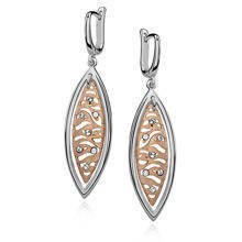 Silver (925) earrings gold-plated zebra pattern with zirconias