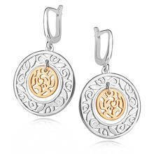 Silver (925) gold-plated earrings - openwork vine
