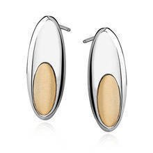 Silver (925) gold-plated earrings - oval with satin