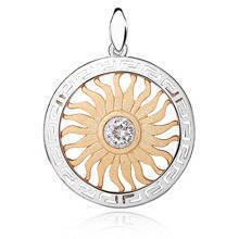 Silver (925) gold-plated pendant - sun with zirconia