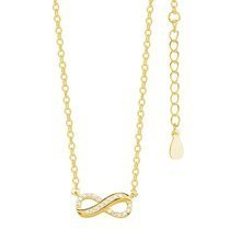 Silver (925) necklace Infinity with zirconias gold-plated