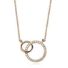 Silver (925) necklace gold-plated circles with zirconias
