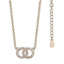 Silver (925) necklace with rings pendant gold-plated