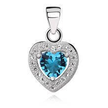 Silver (925) pendant aquamarine colored zirconia - heart