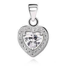 Silver (925) pendant white colored zirconia - heart