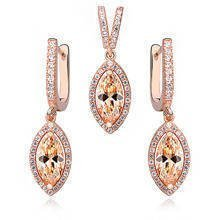 Silver Set (925)  marquise lemon-zirconia in rose gold