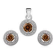 Silver Set (925) round with smokes topaz zircon