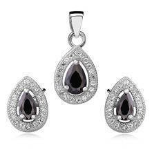 Silver Set (925) teardrop zirconia - black