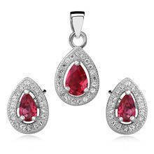 Silver Set (925) teardrop zirconia - ruby