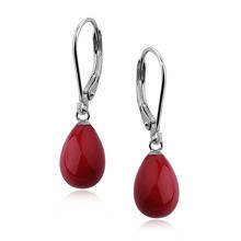 Silver earrings 925 tears - coral