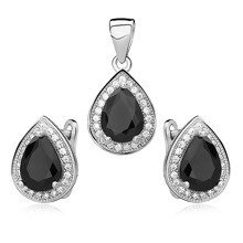 Silver fascinating set (925) zirconia - black teardrop