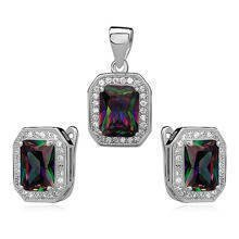 Silver unique set (925) zirconia - multicolor rectangle