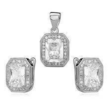 Silver unique set (925) zirconia - white rectangle